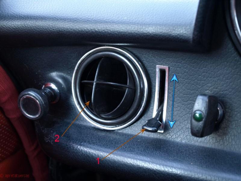 El sistema de calefacción y ventilación del Mercedes W114 / W115.